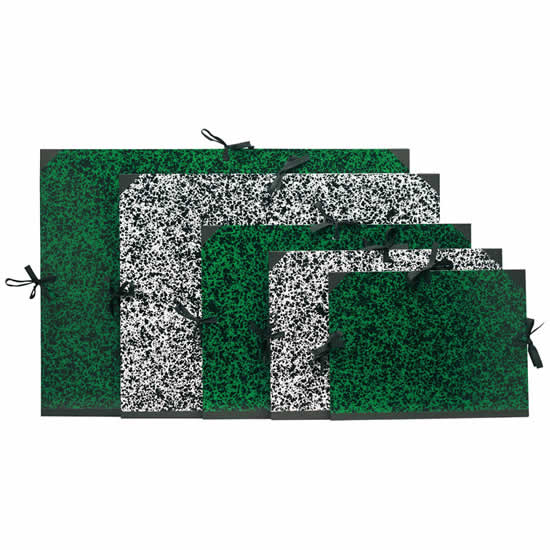 Carton à dessin vert 32x45 A3 à 3 cordons