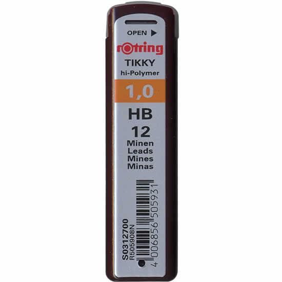 Etui de 12 mines Rotring 1mm HB pour portemine