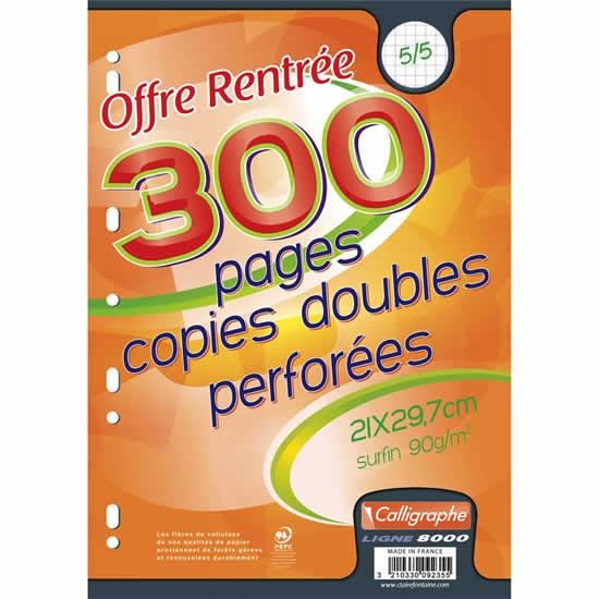 copies doubles petits carreaux A4 Calligraphe