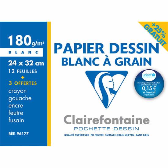 Pochette dessin blanc à grain  180 g 12+3 feuilles