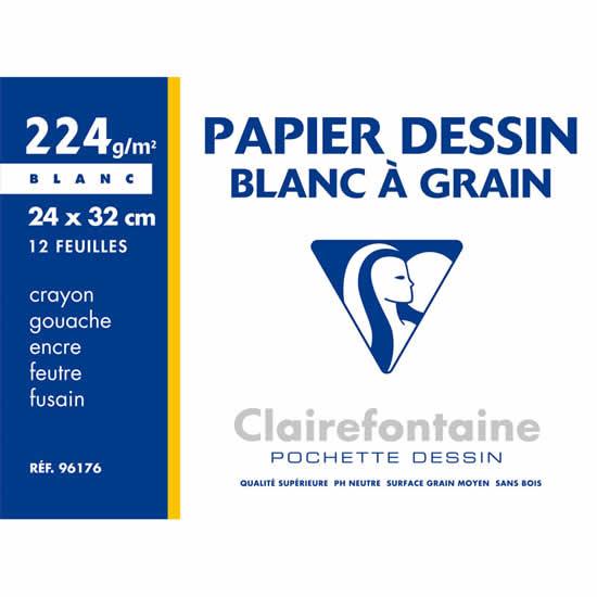 Pochette dessin blanc à grain  224 g 12 feuilles