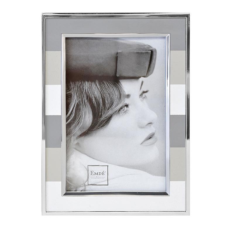 cadre photo alu rayures grises 13x18 emd emd. Black Bedroom Furniture Sets. Home Design Ideas