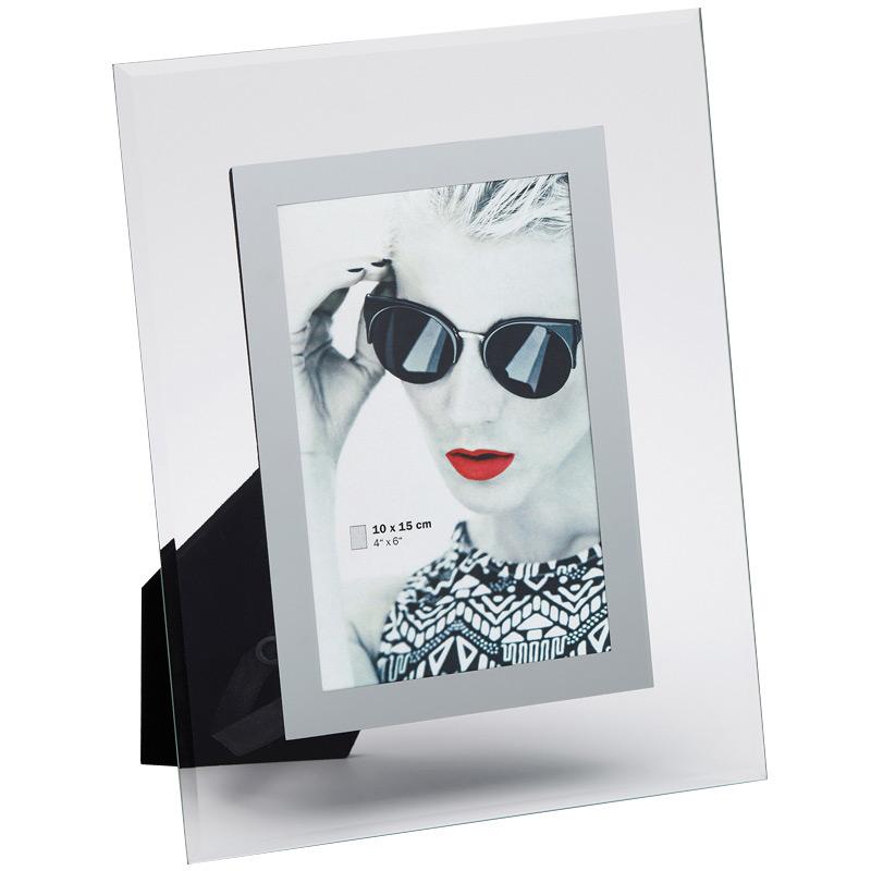 Cadre photo en verre 13x18 manu bordure argent walther - Cadre photo en verre a poser ...