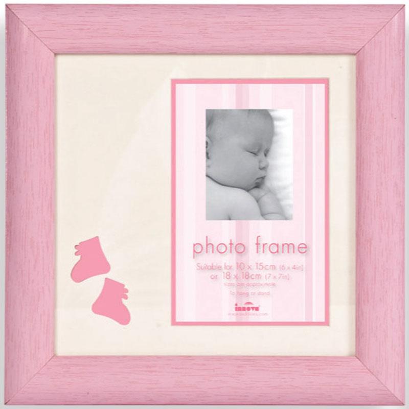 Cadre photo en bois rose photo 10x15 cm b b innova for Cadre photo mural bois