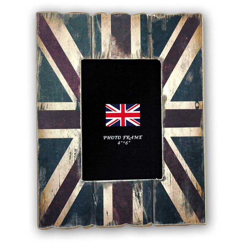Cadre photos union jack londres 10x15 en bois zep for Grand cadre photo mural
