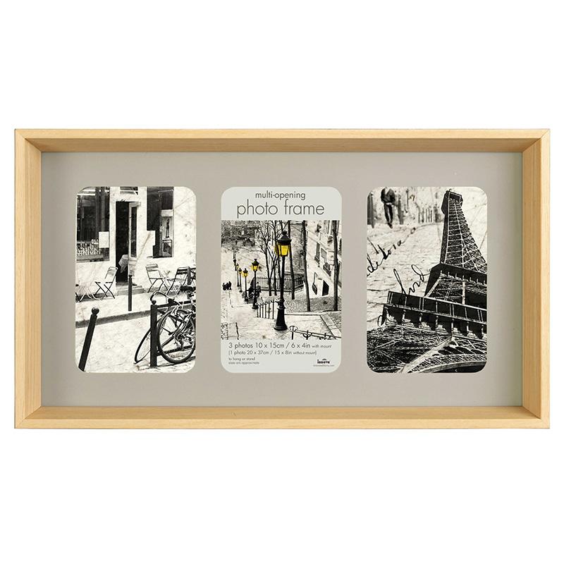 cadre en bois pour 3 photos 10x15cm innova. Black Bedroom Furniture Sets. Home Design Ideas