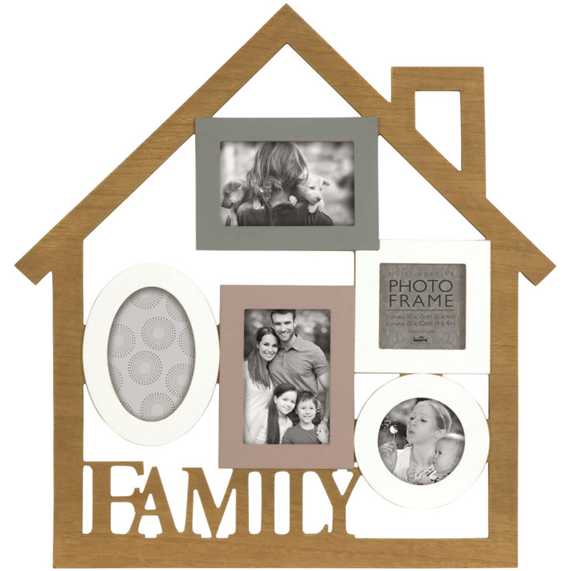 cadre multivues family 5 photos effet bois innova. Black Bedroom Furniture Sets. Home Design Ideas