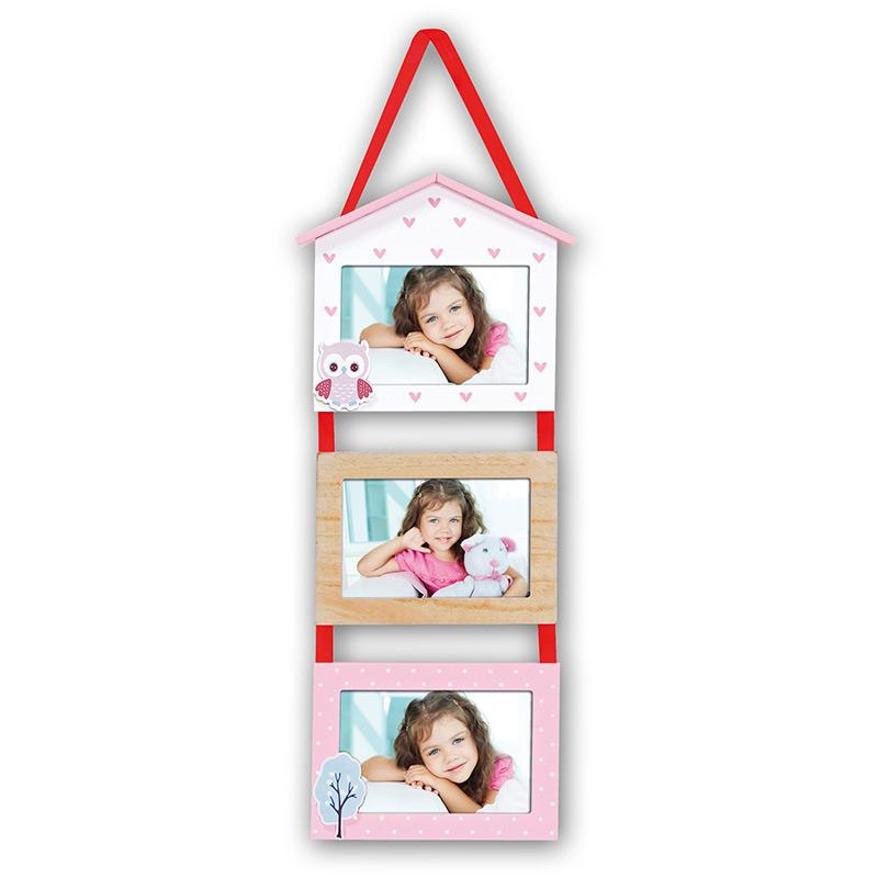 cadre multivues leda 3 photos 10x15 enfant rose zep. Black Bedroom Furniture Sets. Home Design Ideas