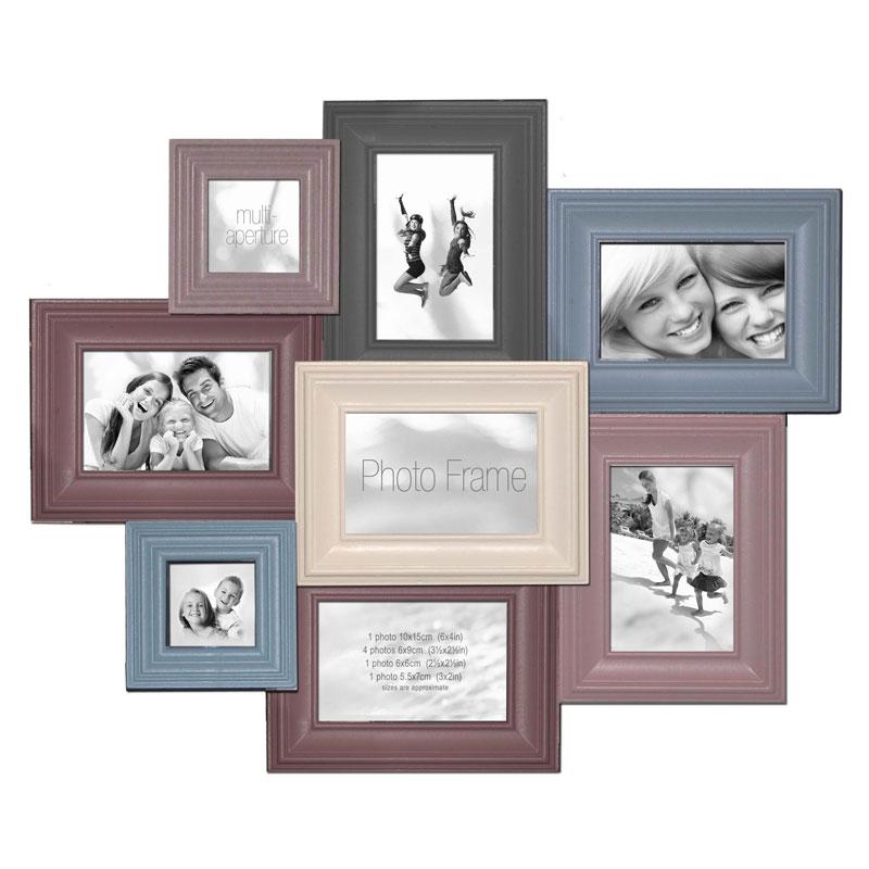 Cadre multivues pastel 8 photos effet bois vieilli innova - Cadre photo 60x80 ...