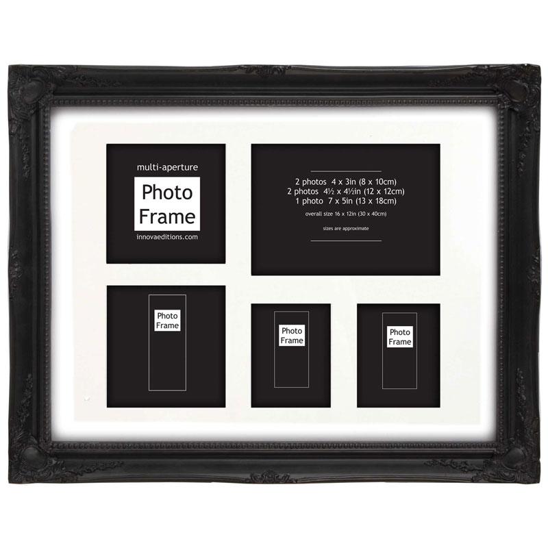 cadre multivues style baroque noir photo 30x40 cm innova. Black Bedroom Furniture Sets. Home Design Ideas