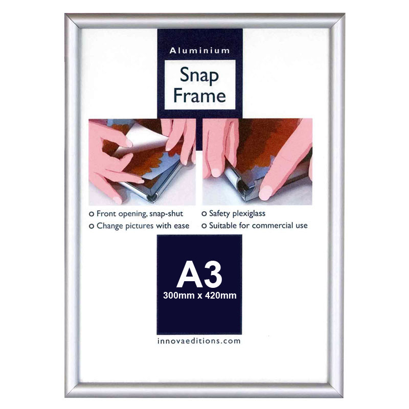 Cadre argent classique pour photo a3 innova for Grand cadre photo mural