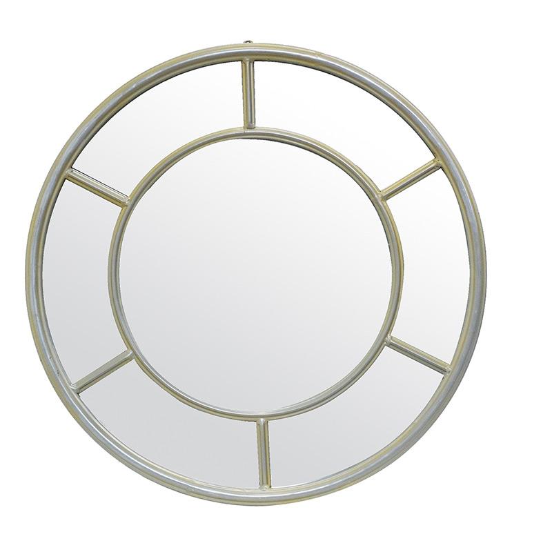 Miroir fen tre rond coralie m tal taupe 50cm emd emd for Miroir rond 50 cm