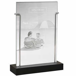 cadre photo verre baguette argent e 13x18 emd. Black Bedroom Furniture Sets. Home Design Ideas