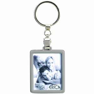 Porte clés métal cadre photo argenté
