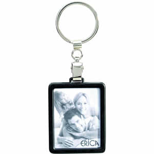 Porte clés métal cadre photo noir