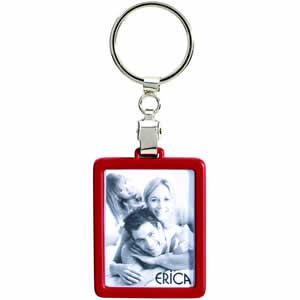 Porte clés métal cadre photo rouge