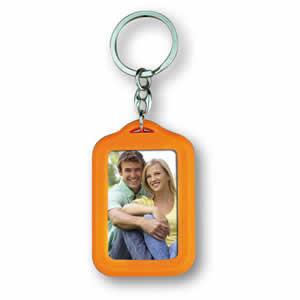 Porte clés photo rectangle personnalisable orange