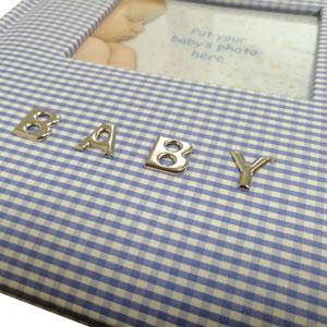 Album photo Gingham couverture en tissu bleu