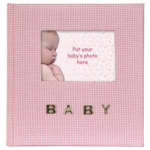 Album photo naissance Gingham couverture en tissu rose