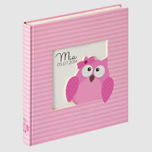 Album photo naissance Owlet Girl 60 pages rose