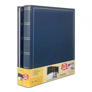 Lot de 2 albums photo classique bleu simili cuir