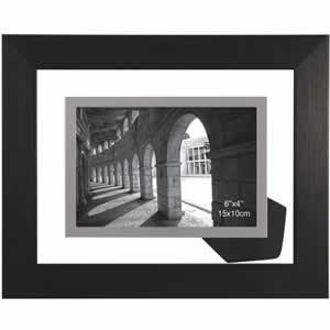 Cadre photo 10x15 transparent en bois noir