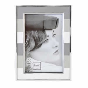 Cadre photo alu rayures grises 10x15 Emdé