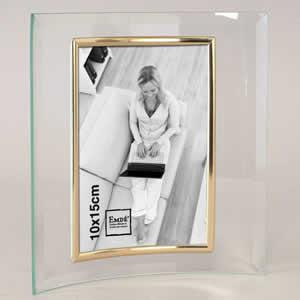 Cadre photo en verre galbé pour photo 10x15 doré