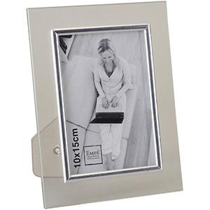 cadre photo verre baguette argent e 10x15 emd. Black Bedroom Furniture Sets. Home Design Ideas