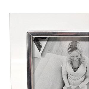 Cadre photo verre baguette argentée 13x18