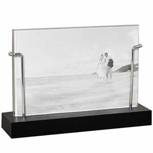 Cadre photo verre et bois noir 10x15