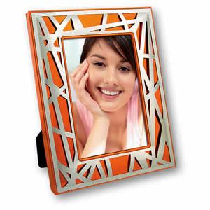 Cadre photos Alessia 10x15 design en métal orange