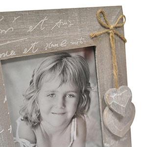 Cadre cœurs en bois pour photo 13x18cm
