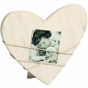 Cadre photo bois cœur Bella 7x7 cm
