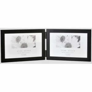 Cadre double photo horizontal métal noir mat 10x15