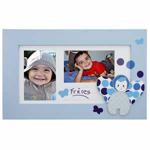 Cadre en bois bleu multivues 2 photos pour enfants