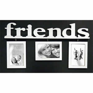 Cadre multivues Friends 3 photos blanc suspendu