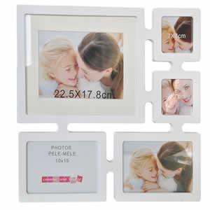 Cadre multivues photo blanc 5 photos 10x15cm deco