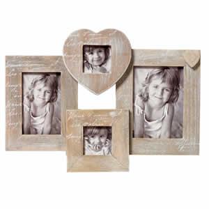 Cadre pêle mêle cœurs en bois pour 4 photos