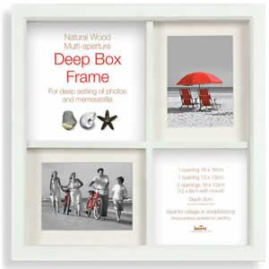 Cadre photo Box Frame multivues 4 photos blanc