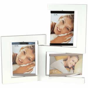 Cadre photo en bois blanc laqué 3 vues 10x15