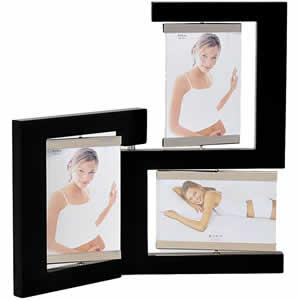 Cadre photo en bois noir 3 vues 10x15