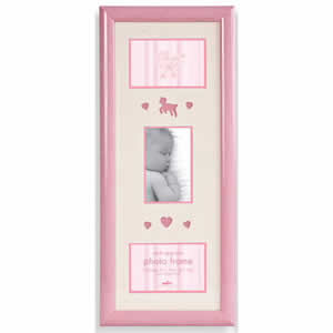 Cadre photo en bois rose 3 photos 10x15 cm bébé