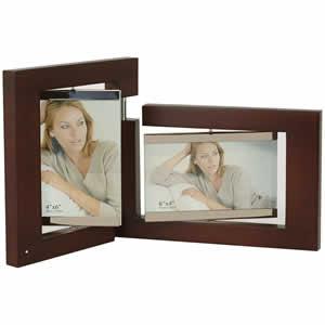 Cadre photo en bois wengé 2 vues 10x15