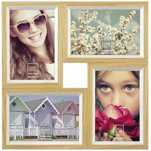 Cadre photo multivues bois blanc 4 vues 10x15