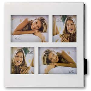 Cadre photo résine blanc 4 vues 10x15