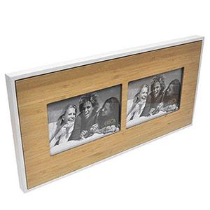 Cadre TECK en bois pour 2 photo 10x15