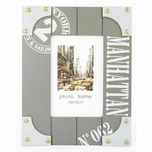 Cadre photo 10x15 gris Manhattan