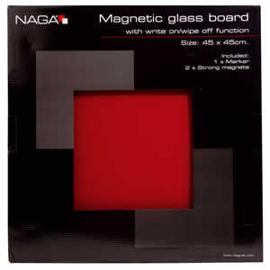 Tableau photo magnétique verre rouge 45x45