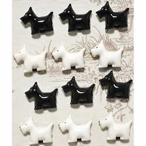 Lot de 12 aimants Westies noir et blanc